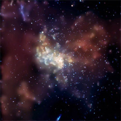 A Chandra X-ray image shows the central region of our Milky Way Galaxy. The bright, point-like source at the center of the image was produced by a huge X-ray flare near the center of our galaxy.