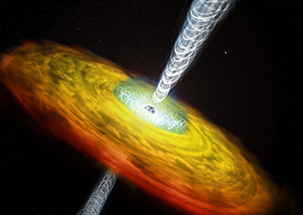 Artist's illustration of a supermassive black hole,<br>and its corona threaded by magnetic fields.